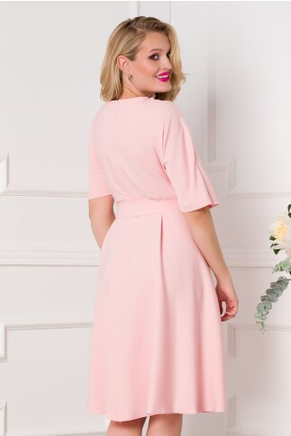 Rochie Zoraia roz cu strasuri la guler