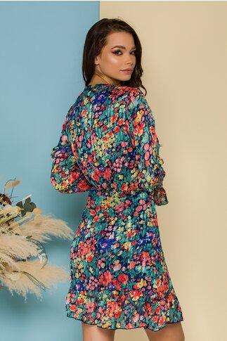 Rochie Zoye albastra cu imprimeu floral multicolor si insertii discrete din fir lurex