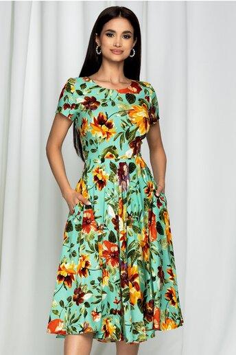 Rochie Georgia verde mint cu maneci scurte si imprimeu floral