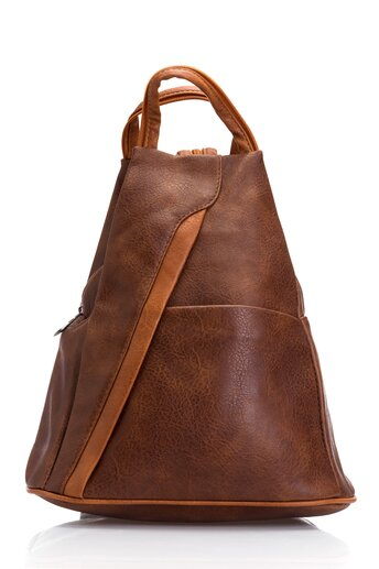 Rucsac maro incapator cu bretele si manere tip geanta
