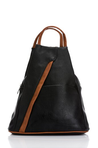 Rucsac negru cu detalii maro si forma triunghilara