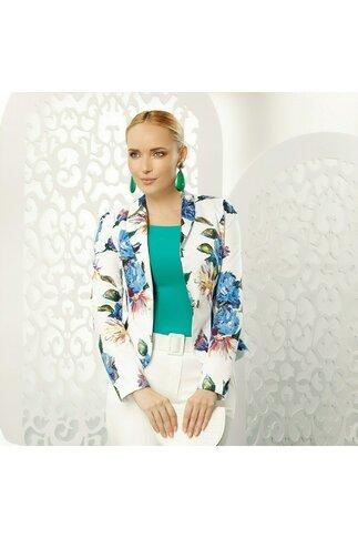 Sacou Fofy alb cu imprimeuri florale albastre