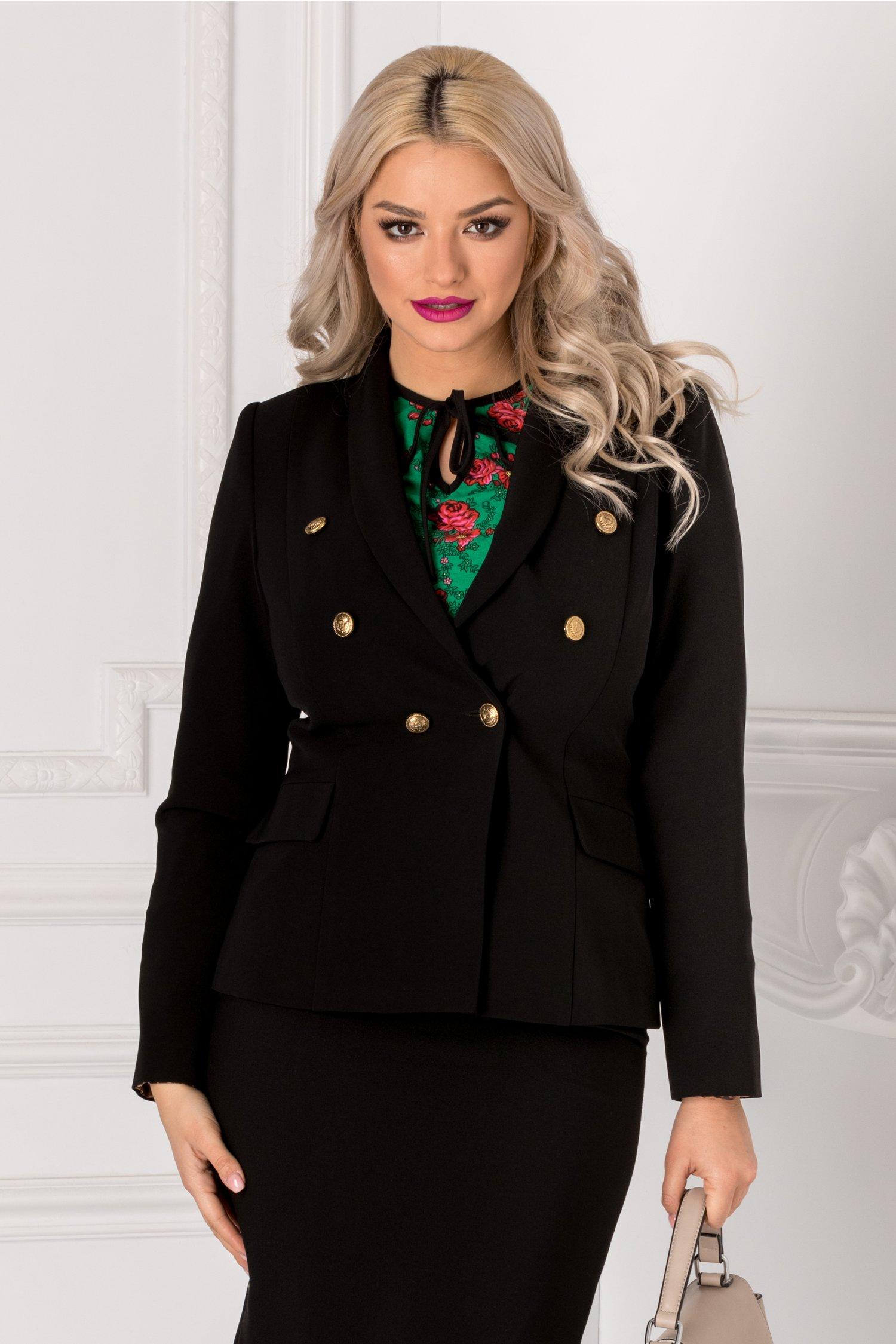 Sacou Ginette negru elegant