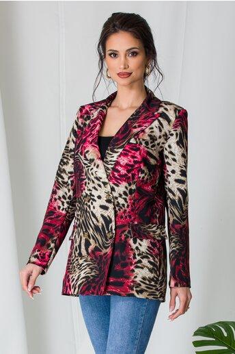 Sacou Kary cu animal print rosu-bej