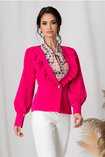 Sacou Leonard Collection fucsia cu volanase