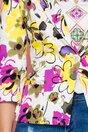 Sacou Lucia alb cu imprimeuri florale in nuante de fucsia si galben