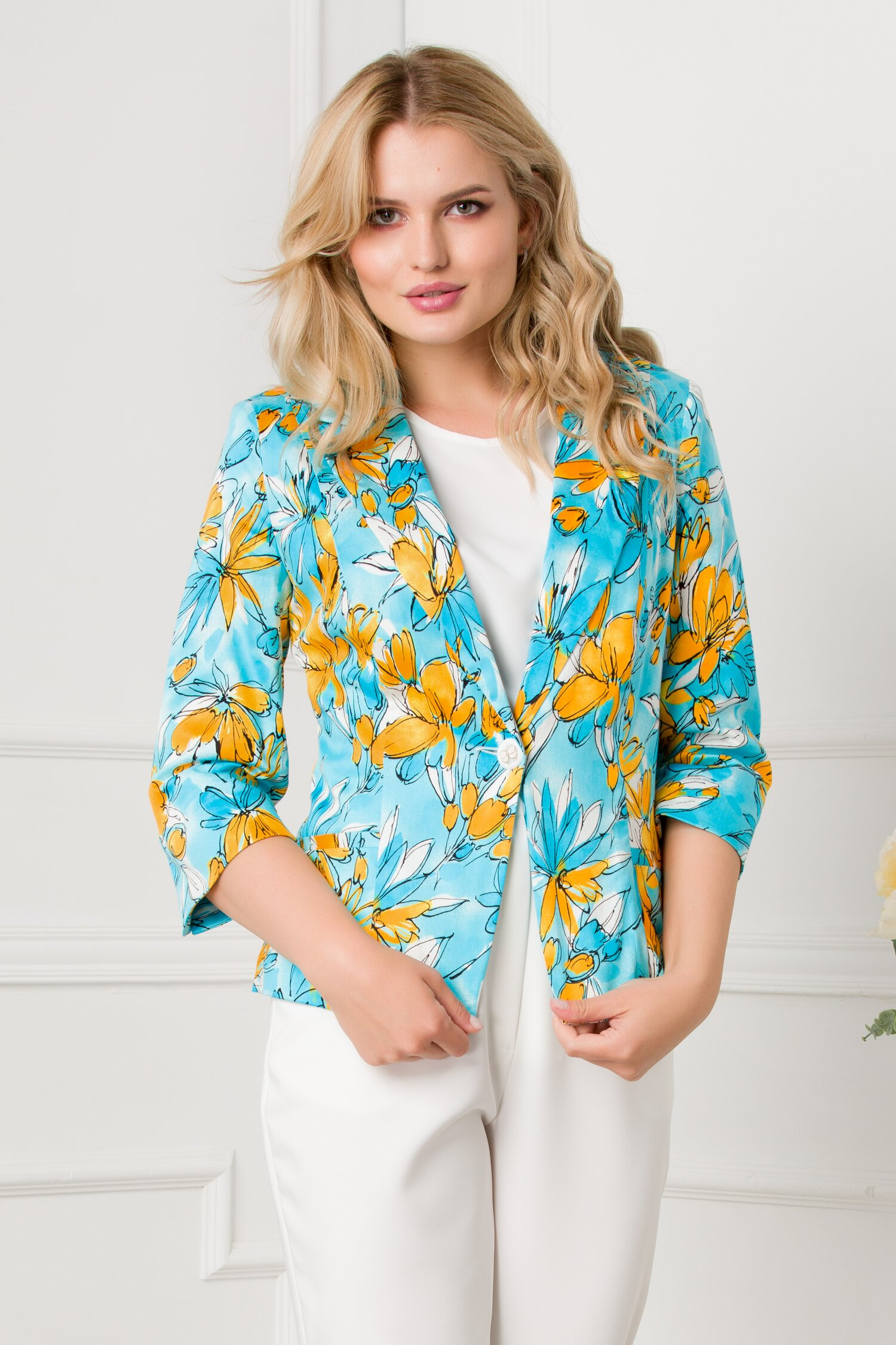 Sacou Lucia bleu cu imprimeu galben imagine