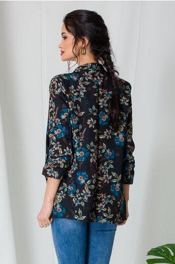 Sacou Sara negru cu imprimeuri florale turcoaz