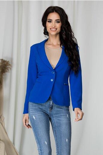 Sacou scurt Alexandra albastru cu buzunare