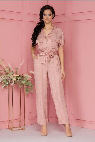 Salopeta Leya roz cu motive florale
