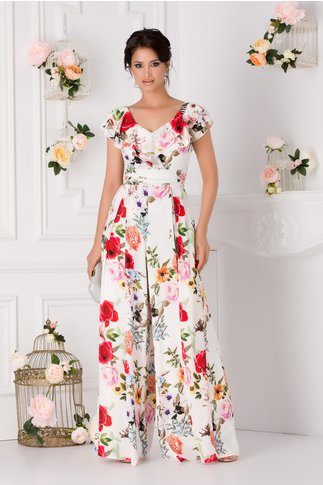 Salopeta Miriam alba cu imprimeu floral si volane la bust