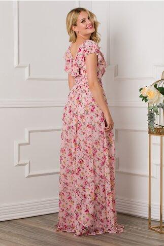 Salopeta Miriam roz cu imprimeu floral si volane la bust