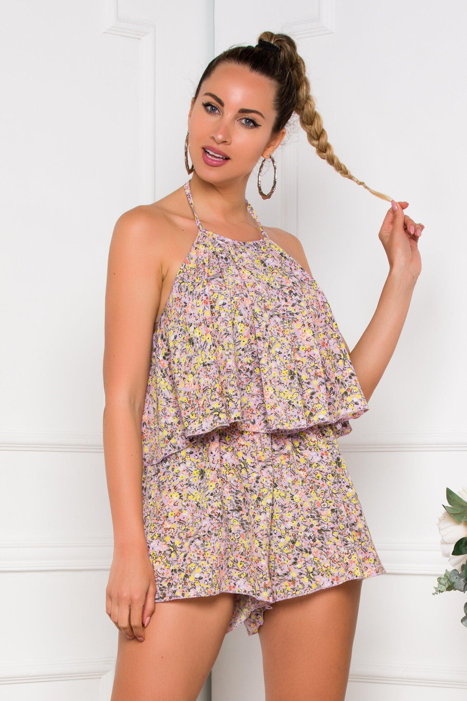 Salopeta Summer lila cu imprimeu floral