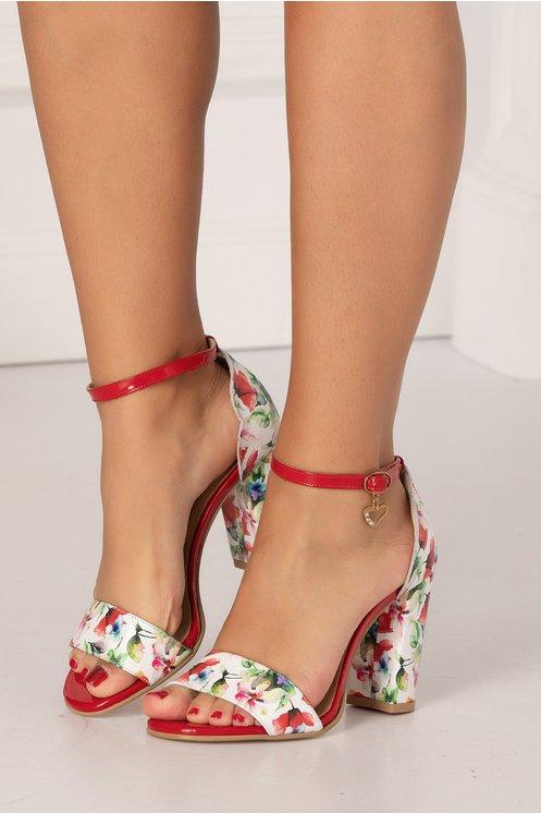 Sandale albe cu imprimeu floral multicolor
