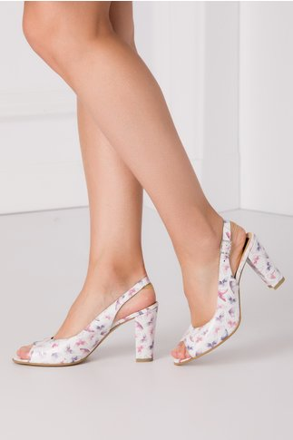Sandale albe de dama cu imprimeu cu fluturi