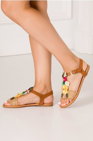 Sandale bej casual cu broderii florale
