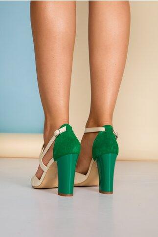 Sandale bej cu detalii verzi