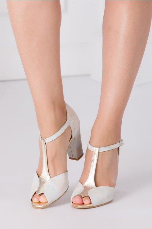 Sandale bej cu imprimeu in degrade