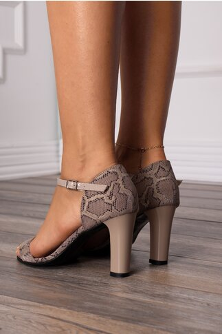 Sandale bej cu snake print si bareta din piele lacuita