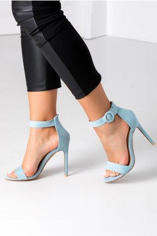 Sandale bleu cu bereta si toc ascutit