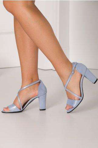 Sandale bleu perlat cu barete