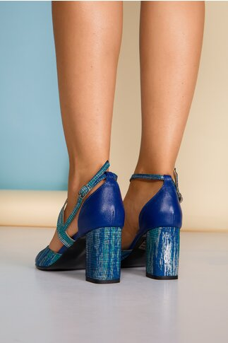 Sandale bleumarin cu imprimeu turcoaz si insertii stralucitoare