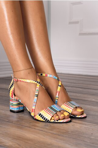 Sandale cu imprimeu geometric multicolor
