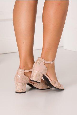 Sandale de dama roz somon cu motive florale