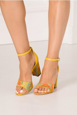 Sandale Debbie galbene cu imprimeu multicolor in stil mozaic