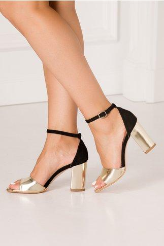 Sandale Debbie negre cu insertii aurii