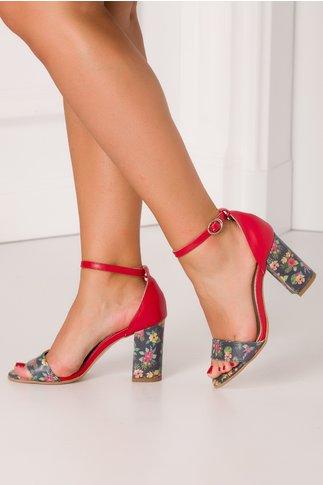 Sandale Debbie rosii cu bleumarin si imprimeu floral