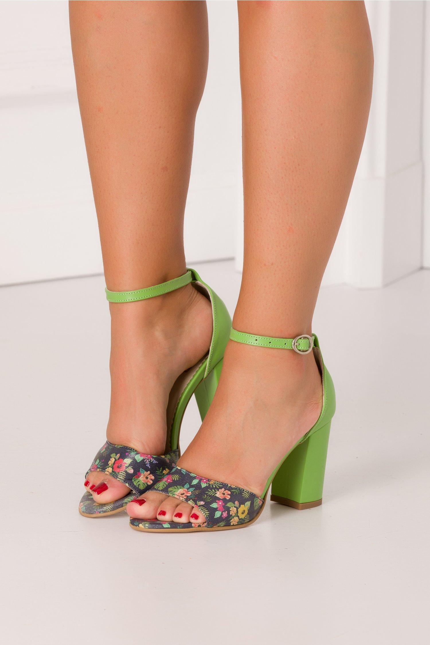 Sandale Debbie verde cu bleumarin si imprimeu floral