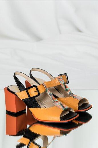 Sandale din piele galben mustar cu detalii negre si toc gros