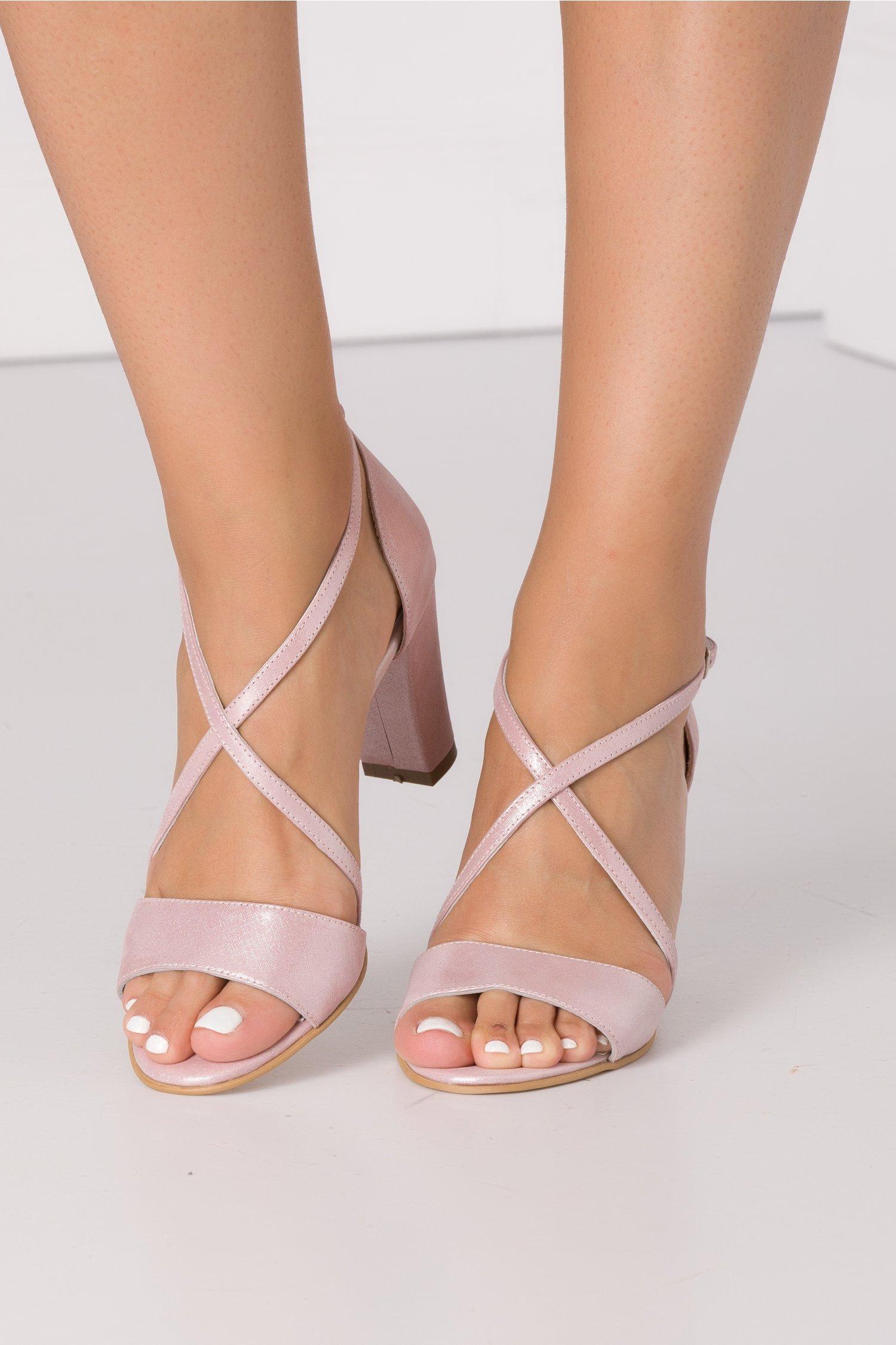 Sandale elegante roz sidefat