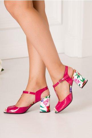 Sandale fucsia din piele lacuita cu imprimeu floral alb