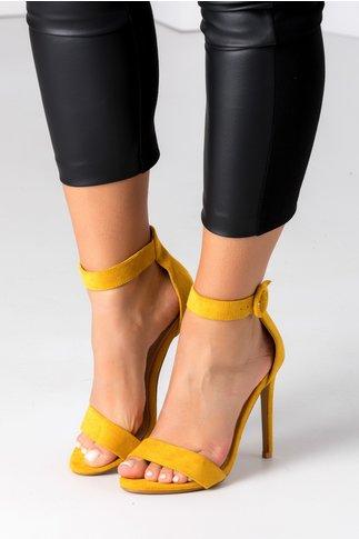 Sandale galbene cu bereta si toc ascutit