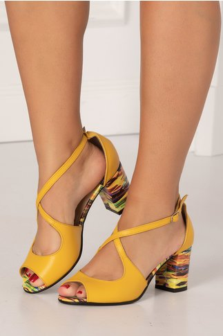 Sandale galbene cu imprimeu curcubeu