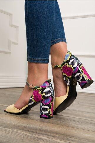 Sandale galbene cu imprimeu snake multicolor