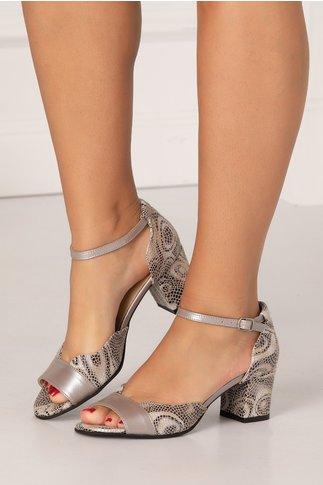 Sandale gri cu imprimeu stil mozaic