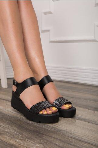 Sandale Lea negre cu detalii argintii