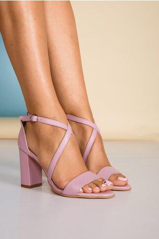 Sandale lila cu barete incrucisate si toc gros