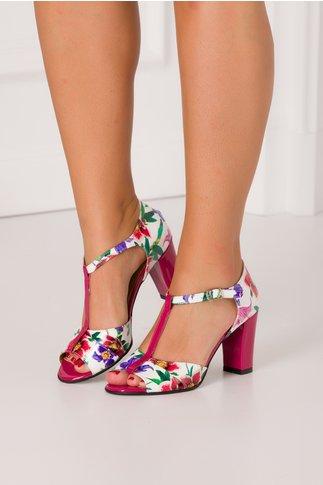 Sandale Naba lacuite alb cu imprimeu floral
