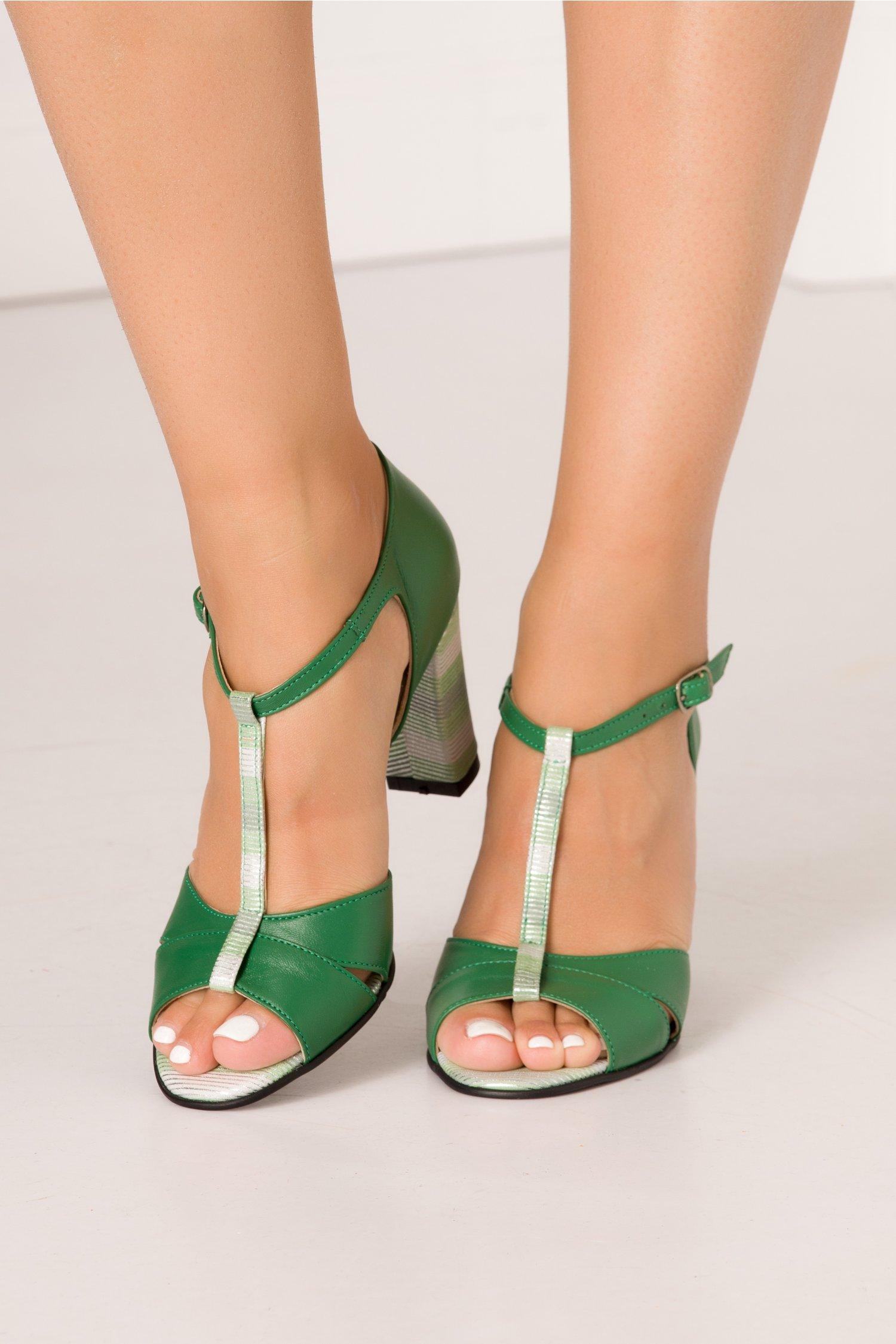 Sandale Naba verzi cu dungi argintii