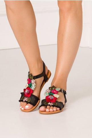 Sandale negre casual cu broderii florale