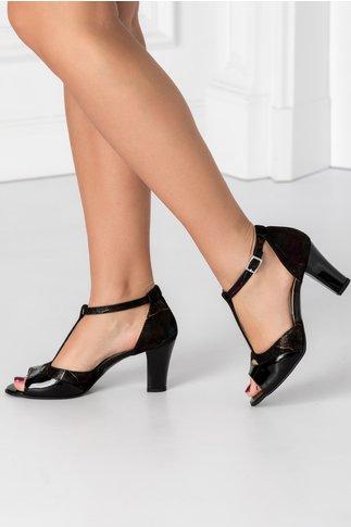 Sandale negre cu imprimeu cameleonic