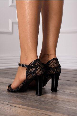 Sandale negre cu snake print si bareta din piele lacuita