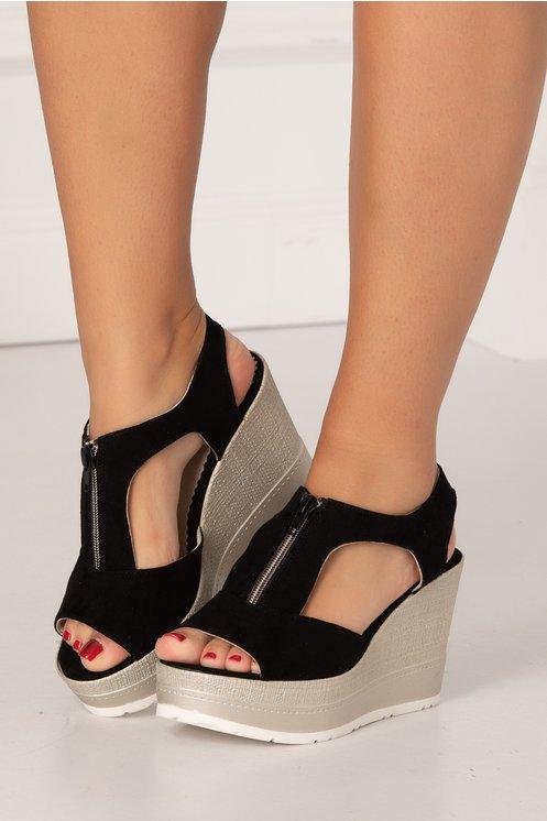 Sandale negre din piele intoarsa cu talpa ortopedica