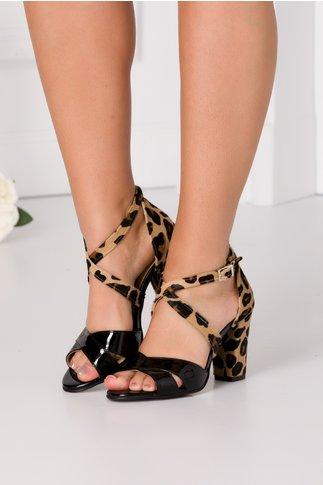 Sandale negre lacuite cu par scurt si animal print