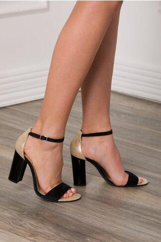Sandale negru-auriu cu bereta si toc gros