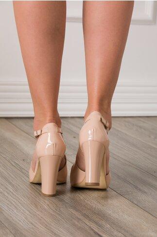 Sandale nude cu aspect lacuit
